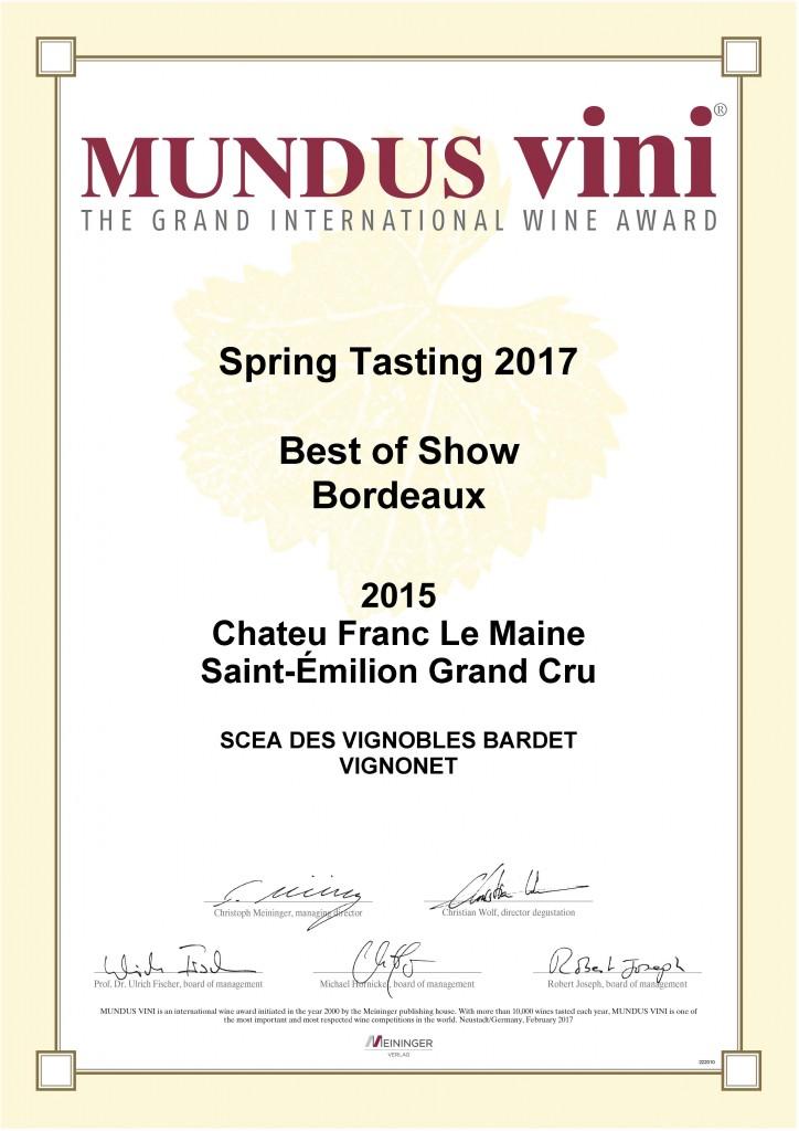 Certificat Best of Show Mundus Vini